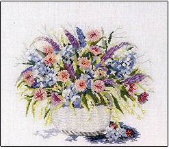 click here to view larger image of Flower Basket - Watercolors (chart)