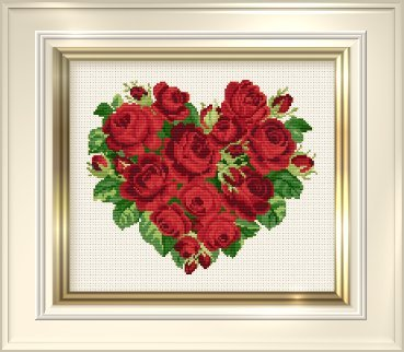 click here to view larger image of Heart of Roses (counted cross stitch kit)