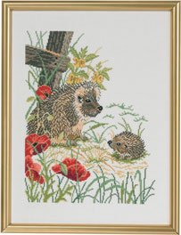 click here to view larger image of Hedgehog & Poppies (counted cross stitch kit)