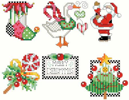 click here to view larger image of Checkered Ornaments Set 1 (chart)