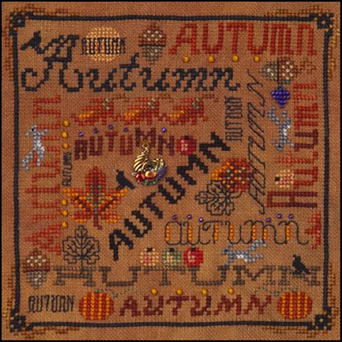 click here to view larger image of Autumn Typography (chart with charms/buttons)