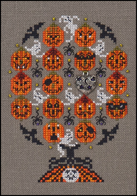 click here to view larger image of Haunted Pumpkins Tree (chart with charms/buttons)