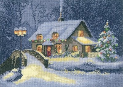 click here to view larger image of Christmas Cottage (counted cross stitch kit)