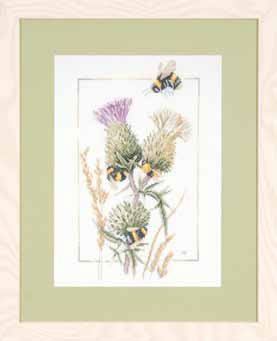 click here to view larger image of Thistle Bees by Marjolein Bastin (Linen) (counted cross stitch kit)