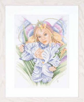 click here to view larger image of Mother and Baby (linen) (counted cross stitch kit)