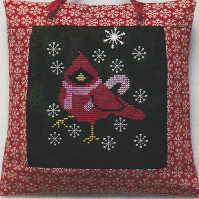 click here to view larger image of Cardinal With Candy Cane (chart with charms/buttons)