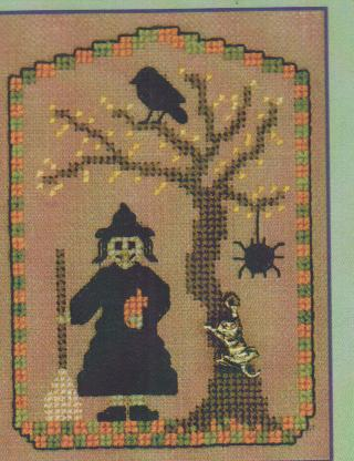click here to view larger image of Witch & Her Cat, A (chart with charms/buttons)