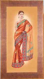 click here to view larger image of Indian Lady in Orange Sari (counted cross stitch kit)