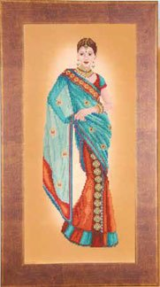 click here to view larger image of Indian Lady in Blue Sari (counted cross stitch kit)