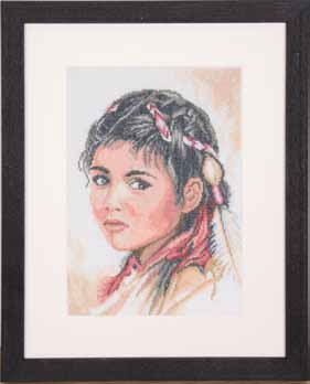 click here to view larger image of Native American Girl (counted cross stitch kit)