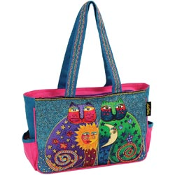 click here to view larger image of Celestial Felines - Medium Tote W/Zipper Top  (accessory)