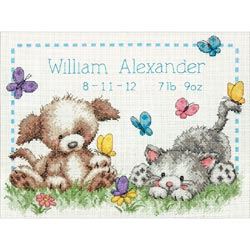 click here to view larger image of Pet Friends Baby Birth Record (counted cross stitch kit)