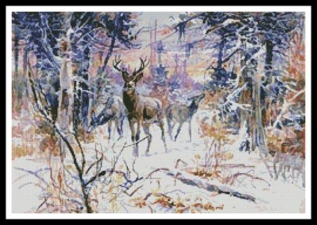 click here to view larger image of Deer In A Snowy Forest  (Charles Marion Russell) (chart)