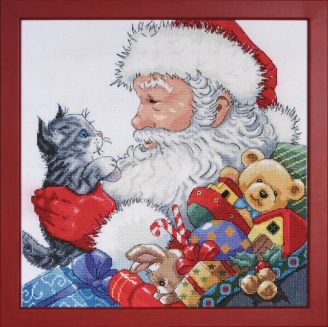 click here to view larger image of Santa With Kitten (counted cross stitch kit)