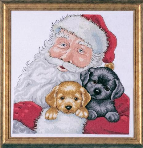 click here to view larger image of Santa With Puppies (counted cross stitch kit)