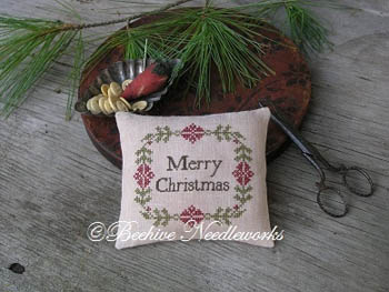 click here to view larger image of Christmas Wreath Pin Pillow (chart)