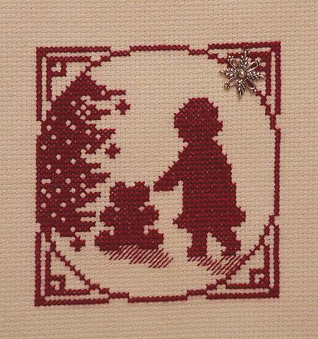 click here to view larger image of Christmas Silhouette - Little Girl with The Teddy Bear Under the Tree (chart with charms/buttons)
