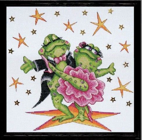 click here to view larger image of Dancing Frogs (counted cross stitch kit)