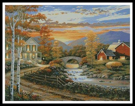click here to view larger image of Brookside Farm at Sunset (chart)