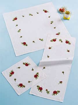 click here to view larger image of Roses Tablecloth (square) (counted cross stitch kit)