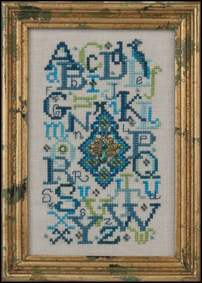 click here to view larger image of Peacock Alphabet (embellishments included) (chart with charms/buttons)
