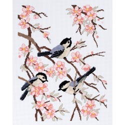 click here to view larger image of Chickadees and Apple Blossoms (counted cross stitch kit)