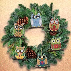 click here to view larger image of Owl Ornaments - Set of 6 (counted cross stitch kit)