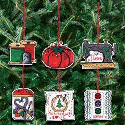 click here to view larger image of Sewing Ornaments -  Set of 6 (counted cross stitch kit)