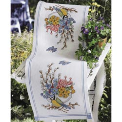 click here to view larger image of Bluetit and Flowers Runner (counted cross stitch kit)