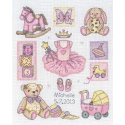 click here to view larger image of Girl Birth Record (counted cross stitch kit)
