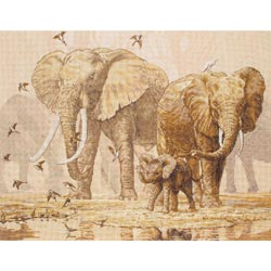 click here to view larger image of African Elephants & Namaqua Doves (counted cross stitch kit)