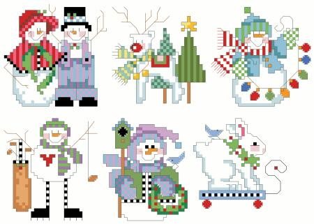 click here to view larger image of Checkered Ornaments Set 3 (chart)