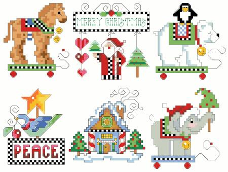 click here to view larger image of Checkered Ornaments Set  4 (chart)