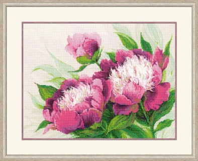 click here to view larger image of Pink Peonies (counted cross stitch kit)
