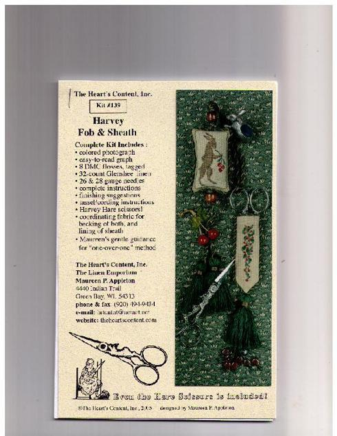 click here to view larger image of Harvey FOB and Sheath Kit (counted cross stitch kit)
