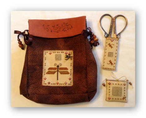 click here to view larger image of Amber Sewing Purse Set (counted cross stitch kit)