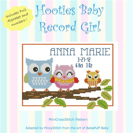 click here to view larger image of Hooties Baby Record - Girl (chart)