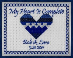 click here to view larger image of My Heart Is Complete Wedding Sampler (counted canvas chart)