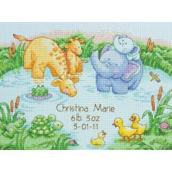 click here to view larger image of Little Pond Birth Record (counted cross stitch kit)