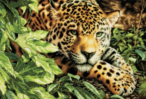 click here to view larger image of Leopard in Repose (counted cross stitch kit)
