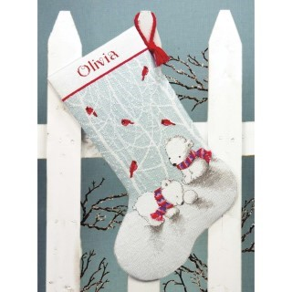 click here to view larger image of Snow Bears Stocking (counted cross stitch kit)