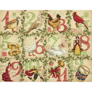 click here to view larger image of 12 Days of Christmas (counted cross stitch kit)