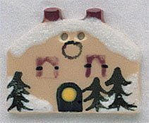 click here to view larger image of Double Chimney House With Snow - Button (buttons)
