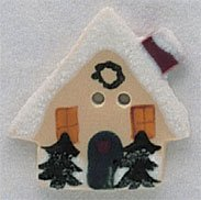 click here to view larger image of House With Snow - Button (buttons)