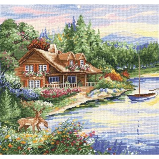 click here to view larger image of Lakeside Cabin (counted cross stitch kit)