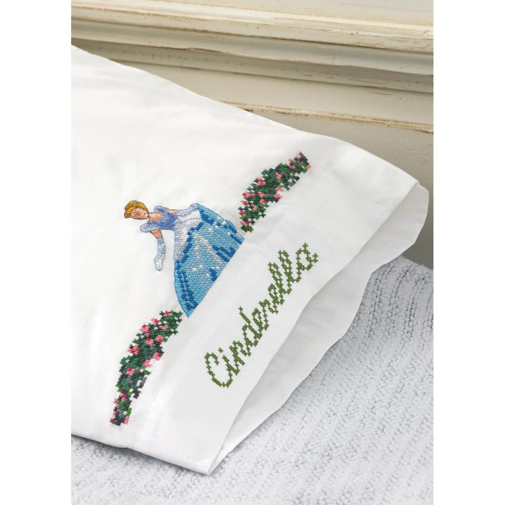click here to view larger image of Cinderella Wishes Upon A Dream Pillowcases (stamped cross stitch)