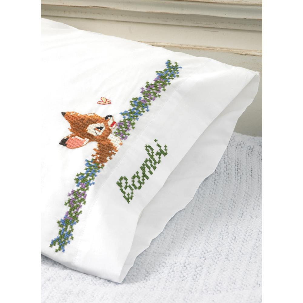 click here to view larger image of Bambi's First Year Pillowcases (stamped cross stitch)