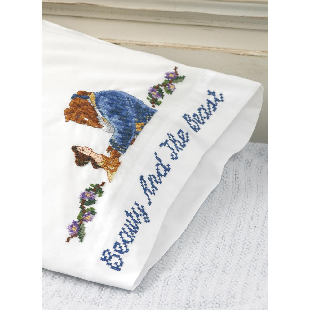 click here to view larger image of Beauty and The Beast Falling in Love Pillowcases (stamped cross stitch)