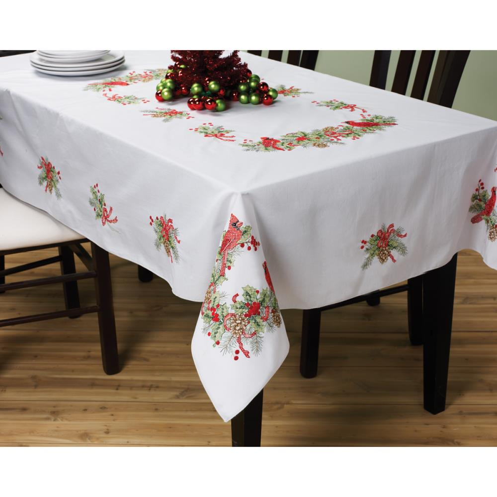 click here to view larger image of Cardinals Stampled Tablecloth 52 x 70 (stamped cross stitch)