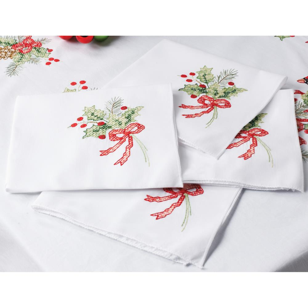 click here to view larger image of Cardinals Stamped Napkins (stamped cross stitch)